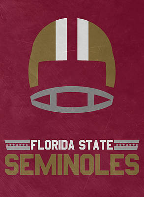 Ncaa Mixed Media - Florida State Seminoles Vintage Football Art by Joe Hamilton
