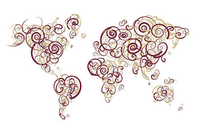 Florida State University Colors Swirl Map Of The World Atlas Art Print by Jurq Studio