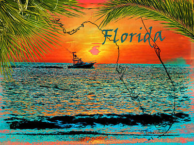 Florida State Mixed Media - Florida Sunset Cruise by Barbara Chichester