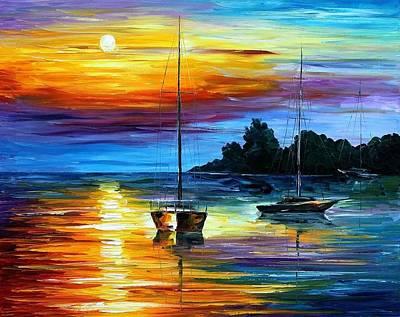 Swamp Oil Painting - Florida Sunset by Leonid Afremov