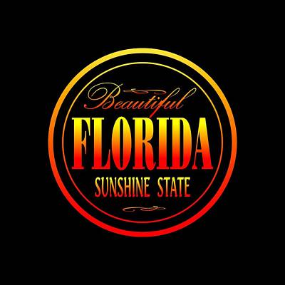 Mixed Media - Florida Sunshine State Design by Art America Gallery Peter Potter