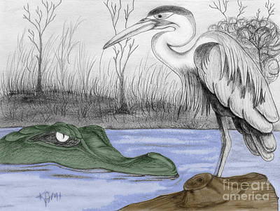Stork Mixed Media - Florida Swamp by Kami Catherman