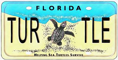 Photograph - Florida Turtle License Plate Pop Art Painting by Edward Fielding