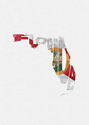 World Map Poster Digital Art - Florida Typographic Map Flag by Inspirowl Design