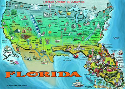 Florida Usa Cartoon Map Art Print by Kevin Middleton