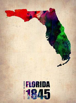 Florida Watercolor Map Art Print by Naxart Studio