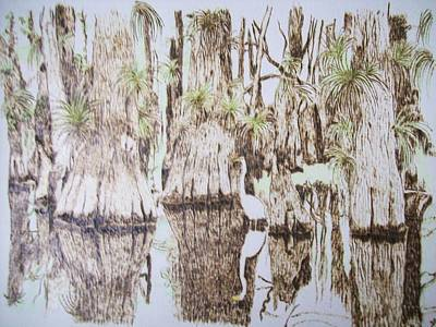 Florida Wildlife Pyrograpgic Portrait By Pigatopia Print by Shannon Ivins