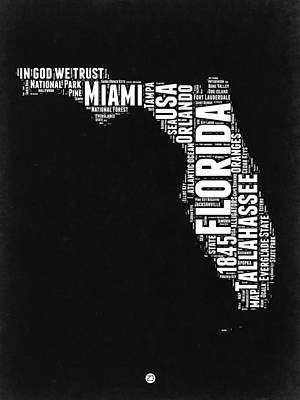 Florida Word Cloud Black And White Map Art Print by Naxart Studio