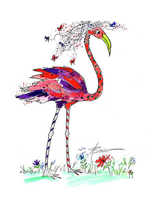 Painting - Flossie Flamingo  by Adele Bower