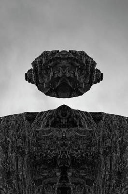 Montage Photograph - Floating Head I Bw by David Gordon