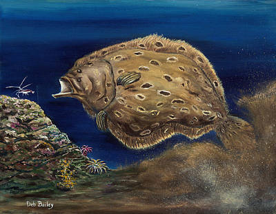 Flounder Painting - Flounder Attack by Debra Bailey