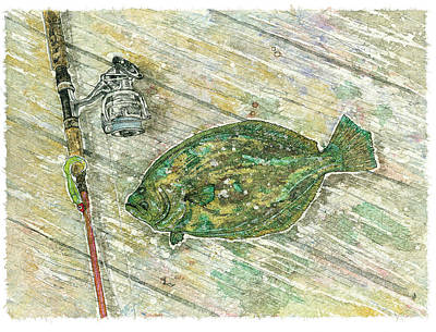 Flounder Painting - Flounder Landing by Nick Cantrell