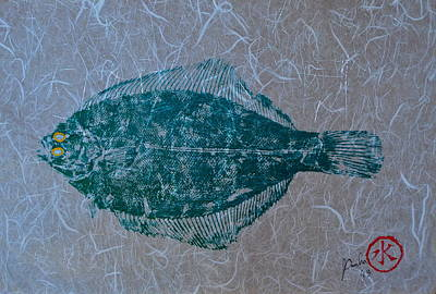 Painted Details Mixed Media - Flounder - Winter Flounder - Black Back by Jeffrey Canha