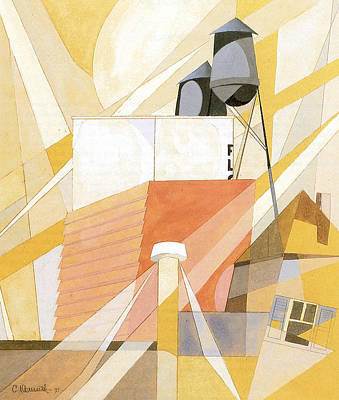 Flour Mill Factory Art Print by Charles Demuth