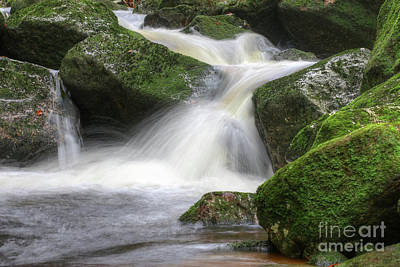 Photograph - Flow Of Water Through Boulders Covered With Moss by Michal Boubin