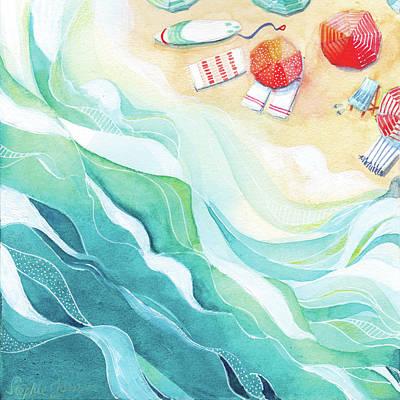 Beach Umbrellas Wall Art - Painting - Flow by Stephie Jones
