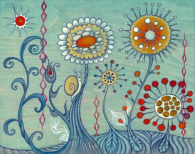 Art Print featuring the painting Flower Power by Kaori Hamura Long
