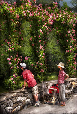 Flower - Rose - Smelling The Roses Art Print by Mike Savad