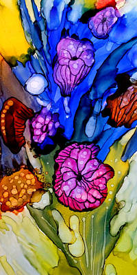 Alcohol Ink Wall Art - Painting - Flower 3 by Lucie Dumas