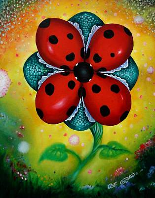 Spring Time Painting - Flower 4 Lady Bugs by Arthur Covington