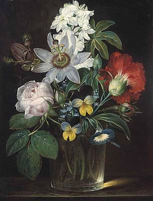 Forget-me-not Painting - Flower And A Delphinium In A Glass Vase by Theodor Mattenheimer