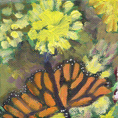 Painting - Flower And Butterfly by Kathleen Barnes