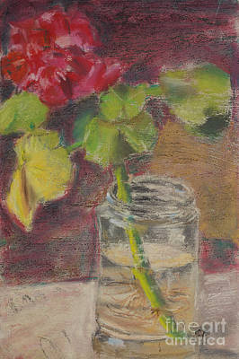 Drawing - Flower And Canning Jar Still Life Caffrey Fielding by Edward Fielding
