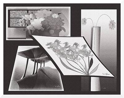 Digital Art - Flower And Tree Collage by Iris Gelbart
