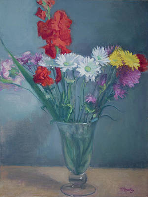Painting - Flower Arrangement in Large Glass Vase by Walter Lynn Mosley