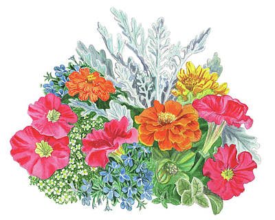 Painting - Flower Arrangement With Petunia Marigold And Sweet Allysum  by Irina Sztukowski