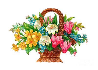 Painting - Flower Basket by R Muirhead Art