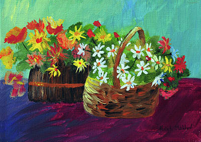 Painting - Flower Baskets by Haleh Mahbod