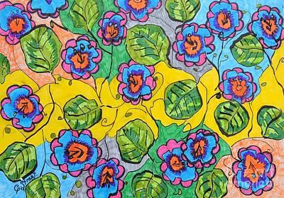 Flower Bed Design Art Print by Caroline Street