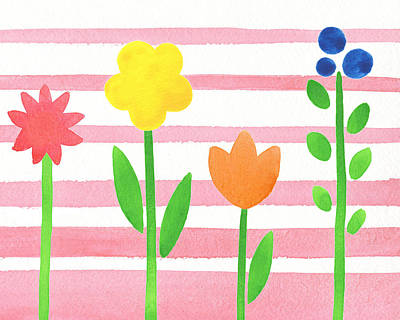 Alphabet Flash Cards Painting - Flower Bed On Baby Pink by Irina Sztukowski