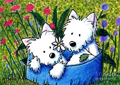 Kiniart Painting - Flower Bed Westies by Kim Niles