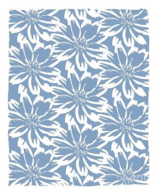 Mixed Media - Flower Block Print Pattern - Blue by Patricia Strand