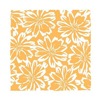Mixed Media - Flower Block Print Pattern - Peach Square by Patricia Strand