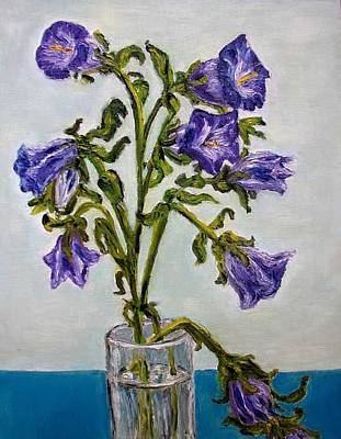 Flower  Bluebells Original Oil Painting Art Print by Natalja Picugina