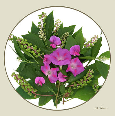 Digital Art - Flower Bouquet And Leaf Series Button by Lise Winne