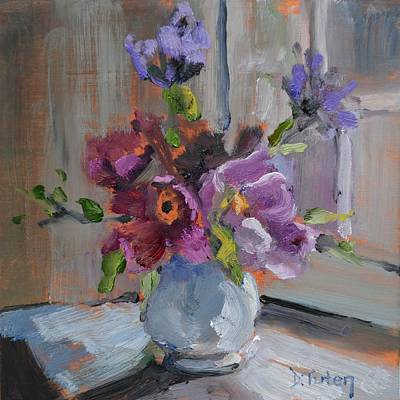 Painting - Flower Bouquet By Window by Donna Tuten
