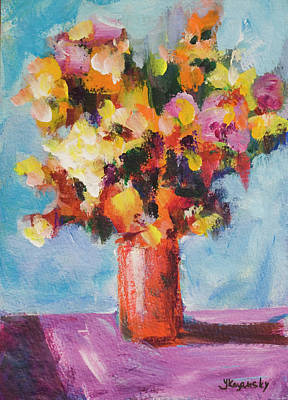 Flower Bouquet In Red Vase Original by Yulia Kazansky