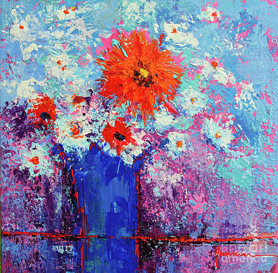 Flower Bouquet Modern Impressionistic Art Palette Knife Work Art Print by Patricia Awapara