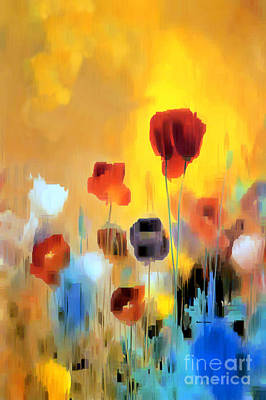 Digital Art - Flower Bouquet Of Poppies by Rafael Salazar