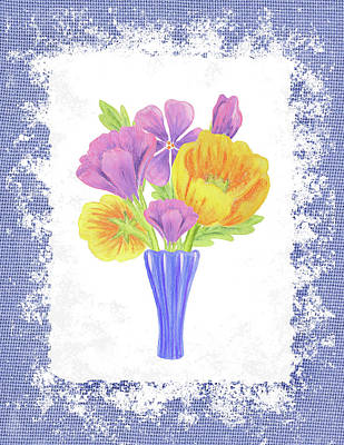 Painting - Flower Bouquet On Blue Canvas by Irina Sztukowski