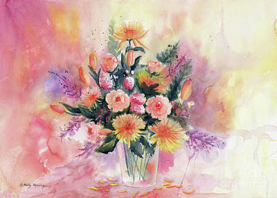 Painting - Flower Bouquet Watercolor by Melly Terpening