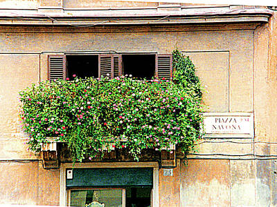 Photograph - Flower Box At 23 Piazza Navona, Rome, Italy by Merton Allen