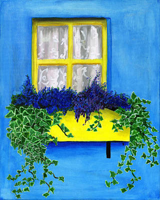 Boxes Painting - Flower Box With Lilac And Ivy by Debbie Brown