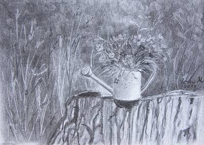 Still Life Drawings - Flower Bucket by Vesna Martinjak
