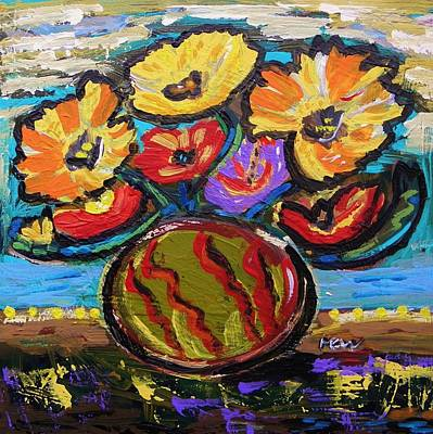 Primitive Raw Art Painting - Flower Cacophony by Mary Carol Williams
