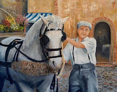 Painting - Flower Cart Man by Alan Lakin